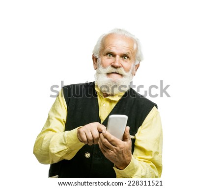 Old active bearded man with mobile phone isolated on white background - stock photo