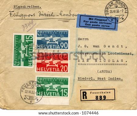 Old addressed envelope from switzerland 1933 - stock photo