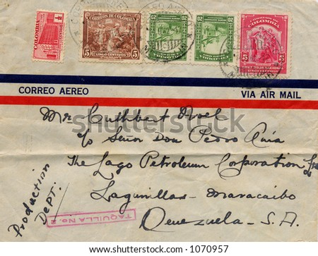 Old addressed envelope sent from Columbia to Venezuela in 1942 - stock photo