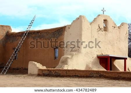 old adobe church - stock photo