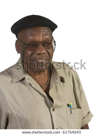 Old African American man portrait. shot against white background. - stock photo