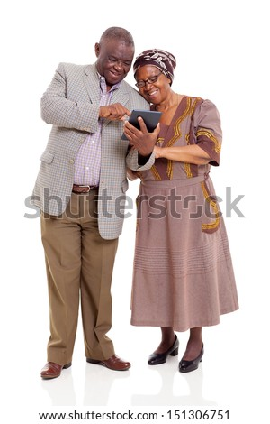 old african couple using tablet computer isolated on white - stock photo