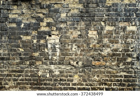 Old aged broken brick wall texture background. Vintage effect.  - stock photo