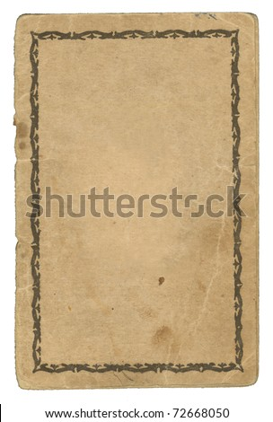 Old aged Paper with stains. Back Cover of an old Passport. Ornamented Frame - stock photo