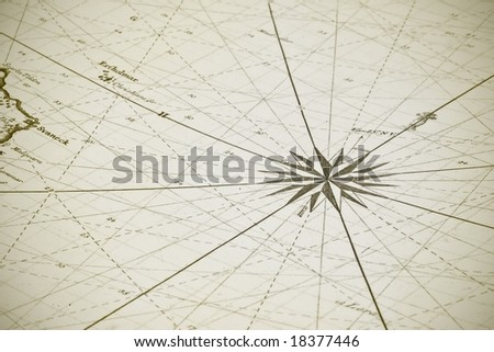 Old aged sea map - stock photo