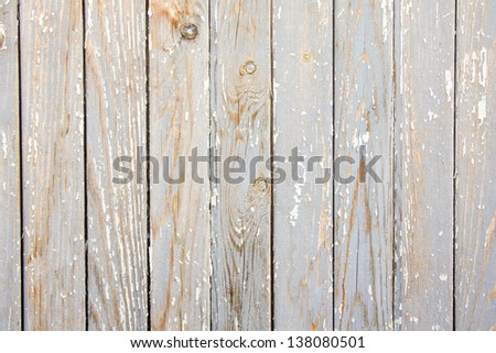 Old aged wooden gray white texture (surface), planks with peelling paint. - stock photo