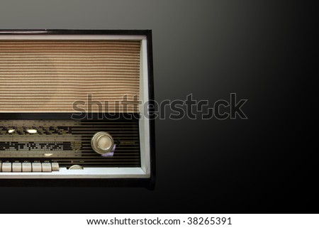 old aged wooden radio in retro look - stock photo