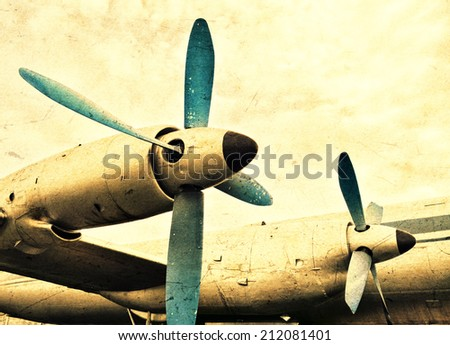 Old aircraft engines - stock photo