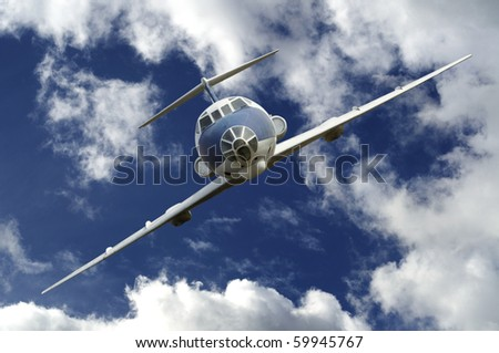 old Airplane on blue sky - stock photo