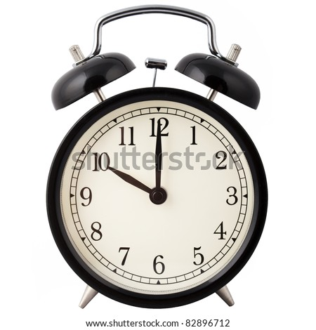 Old Alarm Clock, in black and white, showing ten o'clock.