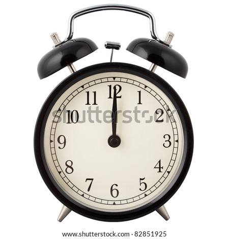 Old Alarm Clock, in black and white, showing twelve o'clock.