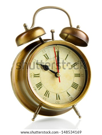 Old alarm clock isolated on white - stock photo