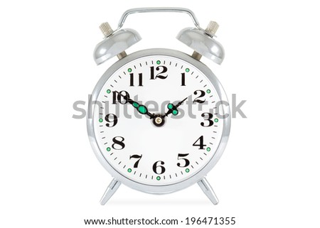 Old alarm clock isolated on white background. - stock photo