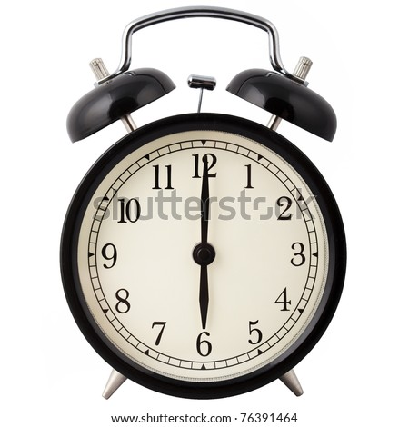 Old Alarm Clock isolated on white, in black and white, showing six o'clock.