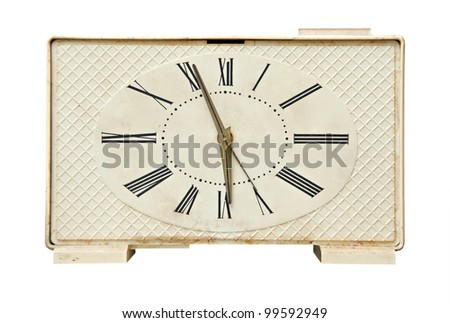 Old alarm clock isolated over white background - stock photo