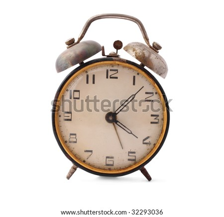 Old alarm-clock on white