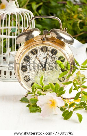 Old alarm-clock with wild flowers on white table - stock photo