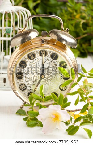 Old alarm-clock with wild rose on white table - stock photo