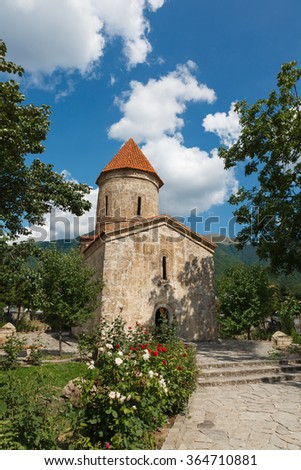 Old Albanian church temple in Kish province of Azerbaijan