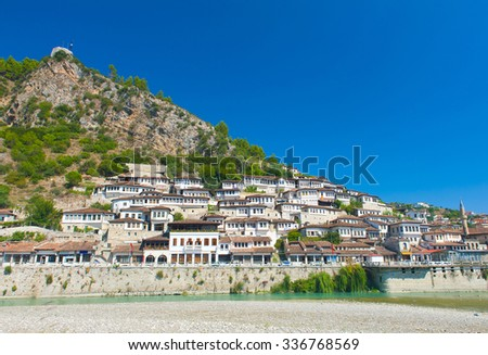 Old Albanian town of Berat is one of the well-known UNESCO landmarks of the country  - stock photo