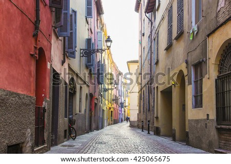 Old alley in Parma, Emilia Romagna province, Italy. - stock photo