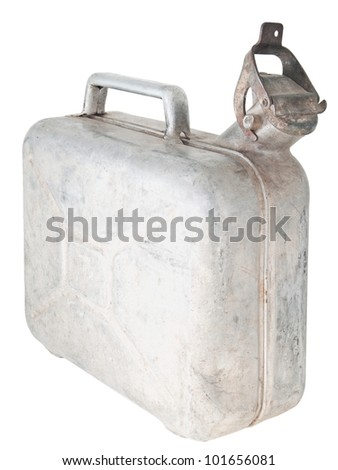 Old aluminum canister. On a white background. - stock photo