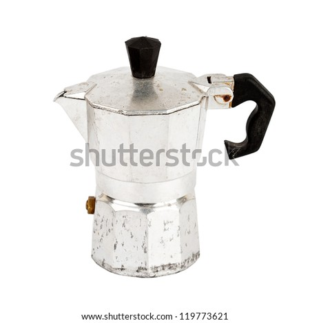 Old aluminum coffee maker isolated on white background