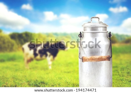 old aluminum milk can against cow pasture meadow - stock photo