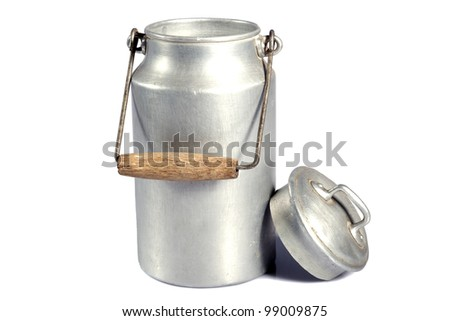 old aluminum milk can on a white background - stock photo