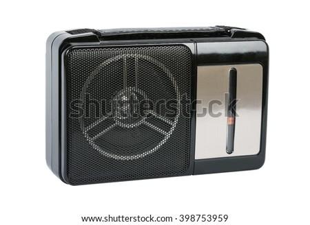 old AM FM radio isolated on white background - stock photo