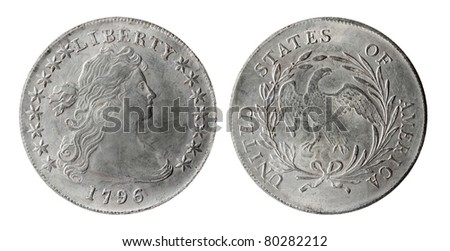 Old American coin on a white background (1796 year) - stock photo