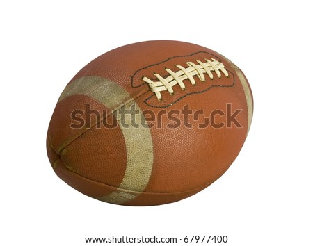 Old american football isolated over a white background - stock photo