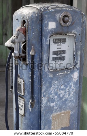 Old, American gas pump in Southern California. - stock photo