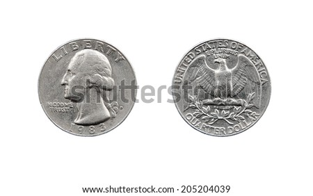 Old American quarter dollar coin Liberty 1983 - stock photo