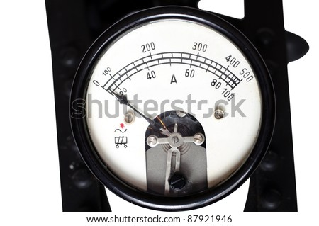 old ammeter on a white background