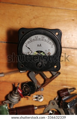 Old amperemeter and details radio, vintage objects - stock photo