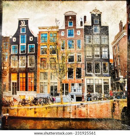 old Amsterdam - vintage slides - stock photo