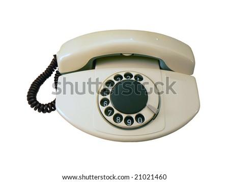 Old analog phone isolated on white background - stock photo