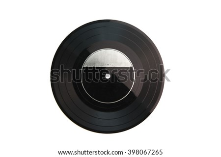"Old analog record disk isolated on white. 7"" (17.5 cm) 33 1/3 rpm extended-playing (EP) format vinyl flexidisc, isolated on white."