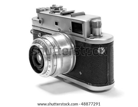 old analog russian photo camera. - stock photo