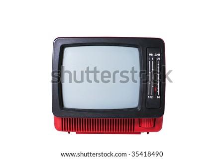 old analog TV set isolated on white background - stock photo