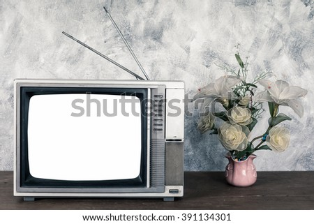 Old analogue television and flower vase on wood table with textured background. - stock photo
