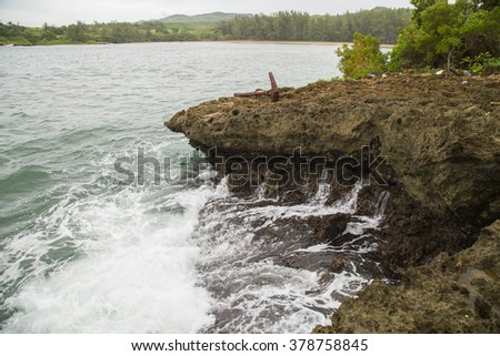 Old anchor in ISLOTE SANCHO - wild beach in Mauritius - stock photo
