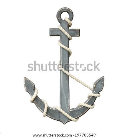 Old anchor isolated on white background with clipping path - stock photo