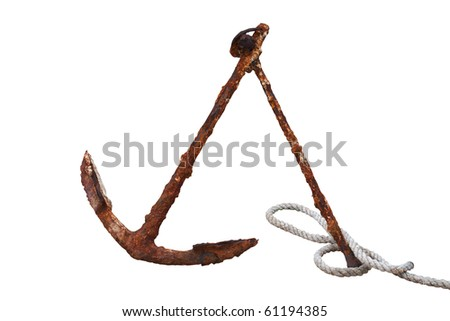 Old Anchor. Isolated on white, with clipping path. - stock photo