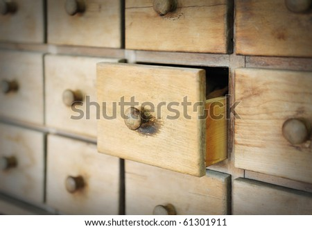 Old ancient drawer - stock photo