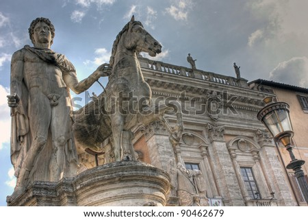 Old ancient famous statue, Catoline Hill, Rome - stock photo