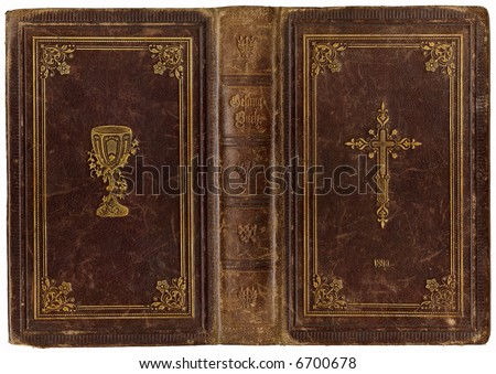 Old, ancient leather songbook cover from 1890 - stock photo