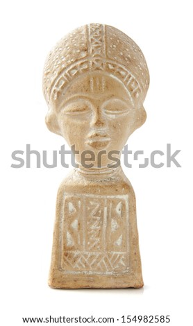 Old ancient stone statue isolated over white