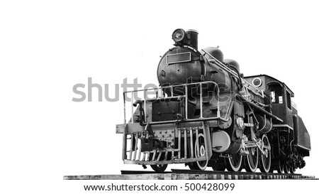 Old ancient style of thai train that can ran and contain passenger to go anyway in the past time with black and white color background